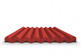 Шифер волновой красный 7 волн, 1750x970x5,2 мм