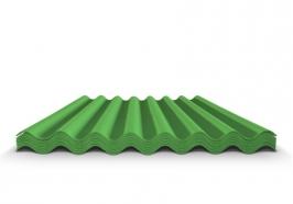 Шифер волновой зеленый 7 волн, 1750x970x5,2 мм