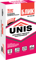 Шпаклевка гипсовая ЮНИС Блик, 25 кг