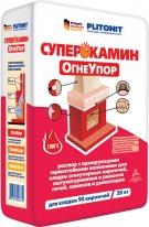 Раствор для кладки огнеупорных кирпичей, и ремонта печей ПЛИТОНИТ-СуперКамин ОгнеУпор, 20 кг