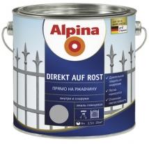 Эмаль гладкая по ржавчине Alpina Direkt auf Rost 0,75 л (серебрянная)