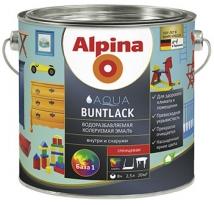 Эмаль белая, глянцевая водная Alpina Aqua Buntlack 2,5 л