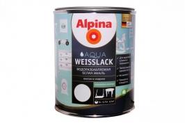 Эмаль шелковисто матовая белая водорастворимая Alpina Aqua Weisslack 0,75 л