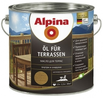 Масло полуматовое водорастворимое для террас Alpina Ol fur Terrassen 2,5 л (средное)