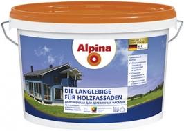 Краска долговечная для деревянных фасадов Alpina Holzfassade 2,5 л