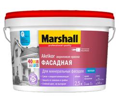 Краска фасадная матовая атмосферостойкая белый Marshall Akrikor 2,5 л (база ВW)