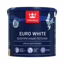 Краска для потолка, безупречный белый Tikkurila Finncolor Euro White 2,7 л