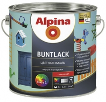 Эмаль белая глянцевая универсальная Alpina Buntlack 9,5 л