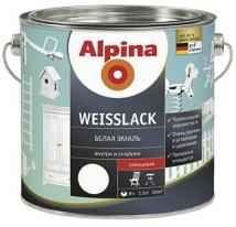 Эмаль белая шелковисто-матовая Alpina Weisslack 0,75 л