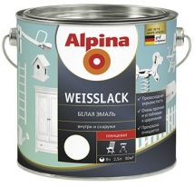 Эмаль белая шелковисто-матовая Alpina Weisslack 2,5 л