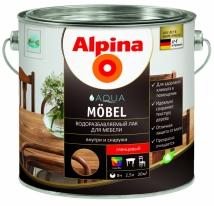 Лак глянцевый водорастворимый Alpina Aqua Mobel 2,5 л