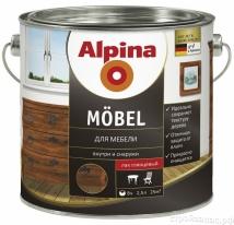 Лак шелково-матовый водорастворимый Alpina Aqua Mobel 2,5 л