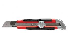 Нож, 18 мм, выдвижное лезвие, металлическая направляющая, винтовой фиксатор лезвия Matrix