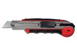 Нож, 18 мм, выдвижное лезвие, метал. направляющая, обрез. ручка + 5 лезвий Matrix Master