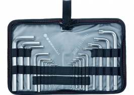 Набор ключей имбусовых HEX-TORX, 18шт, HEX 1.5-10×50, CrV, короткие, сатин-хром, Matrix