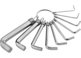 Набор ключей имбусовых HEX, 1,5–10 мм, CrV, 10 шт.,никелированный, на кольце Sparta