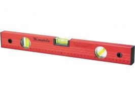 Уровень алюминиевый 400 мм, три глазка, красный, линейка Matrix