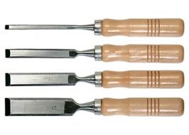 Набор стамесок, 6-12-18-24 мм, плоские, деревянные рукоятки Sparta