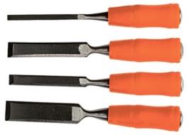 Набор стамесок 4 шт, 6-12-18-24 мм, плоские, пластиковые ударные рукоятки Sparta