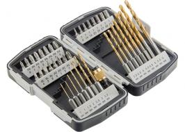 Набор бит и свёрел, магнитный адаптер, в пластиковом боксе MATRIX