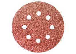 Круг абразивный на ворсовой подложке под «липучку», перфорированный, P 180, 125 мм, 5 шт. Matrix