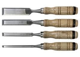 Набор долот-стамесок, 6-12-18-24 мм, плоских, деревянные рукоятки Sparta