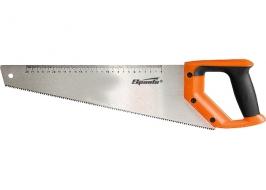 Ножовка по дереву, 450 мм, 7-8 TPI, зуб-2D, каленый зуб, линейка, двухком. рук. Sparta