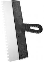 Шпатель из нержавеющей стали, 200 мм, зуб 10х10 мм, пластмассовая ручка СибрТех