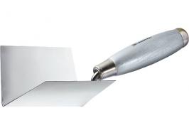 Мастерок из нерж. стали, 110 х 75 х 75 мм, для внутренних углов, деревянная ручка Matrix
