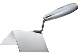 Мастерок из нерж. стали, 110 х 75 х 75 мм, для внешних углов, деревянная ручка Matrix