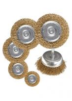 Набор щеток для дрели, 6 шт., 5 плоских 40-50-65-75-100 мм + 1 «чашка» 50 мм, со шпильками Matrix