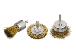 Набор щеток для дрели, 3 шт., 1 плоская, 50 мм, + 2 «чашки», 25-50 мм, со шпильками, мет. Matrix
