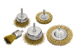 Набор щеток для дрели, 5 шт., 2 плоские, 50-75 мм + 3 «чашки», 25-50-75 мм, со шпильками Matrix