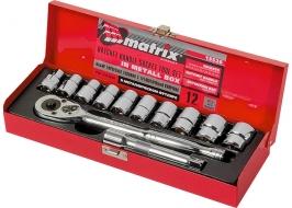 Набор торцевых головок, 1/2″, головки 10 — 24 мм, с трещоточным ключом, 12 предметов MATRIX