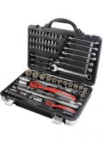 Набор инструмента 1/4, 1/2, CrV, S2, усиленный кейс, 77 предметов Matrix Professional