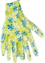 Перчатки садовые из полиэстера с нитриловым обливом, зеленые, M Palisad