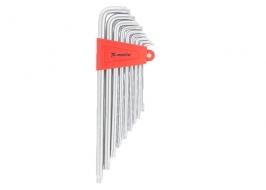 Набор ключей имбусовых TORX, 9 шт, T10x50, CrV, экстра длинные, сатин-хром, Matrix