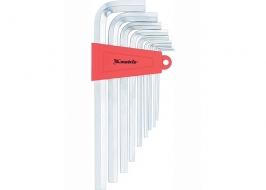 Набор ключей имбусовых HEX, 2-12 мм, CrV, 9 шт, экстра длинныеные, сатин-хром, Matrix