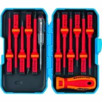 Отвертка диэлектрическая со сменными насадками, индикатор напряжения, 13 шт., CrV Барс