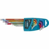 Набор ключей имбусовых HEX, 1,5–10 мм, S2, 9 шт, магнит, экстра-длинные с шаром, хром/краска Gross