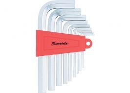 Набор ключей имбусовых HEX, 2–12 мм, CrV, 9 шт., короткие, сатин MATRIX