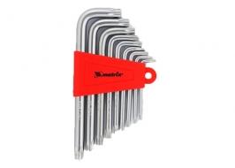 Набор ключей имбусовых TORX, 9 шт, T10x50, CrV, короткие, сатин-хром, Matrix