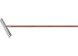 Грабли с деревянным черенком, стальные, покрытые эпоксидом LUXE Palisad