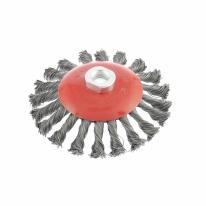 Щетка для УШМ, 125 мм, М14, «тарелка», крученая проволока 0,5 мм Matrix