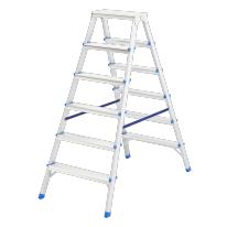 Стремянка двусторонняя 6 ступеней, алюминиевая СибрТех