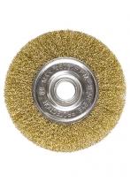 Щетка для УШМ, 150 мм, посадка 22,2 мм, плоская, латунированная витая проволока Matrix