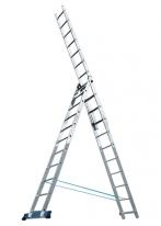 Лестница, 3 х 8 ступеней, алюминиевая, трехсекционная Россия