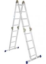 Лестница, 4 х 4 ступени, алюминиевая, шарнирная Россия