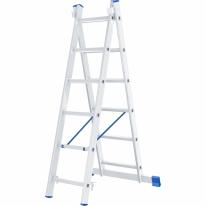 Лестница, 2 х 6 ступеней, алюминиевая, двухсекционная СибрТех