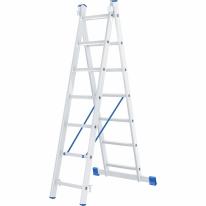 Лестница, 2 х 7 ступеней, алюминиевая, двухсекционная СибрТех